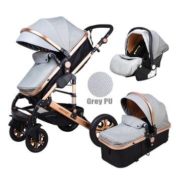 Newborn Baby Stroller 3 in 1 High Landscape Carriage Luxury Travel Pram Basket quality Stroller Baby Car seat Hot Sale Upgrade! 17