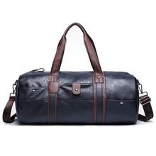 Top Quality PU Leather Travel Bags Cylinder Men Duffle Bag Luggage Waterproof Handbags for Men bolsa de couro Bag L483