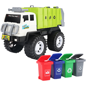 2020 NewChildren Alloy Car Model Diecast City Cleaning Garbage Truck Sound Light Pull Back Toys Gift with 4 Waste Recycling Bins