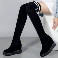 Fashion Sneakers Womens Cow Leather Stretchy Wedges High Heel Over The Knee High Military Boots Round Toe Platform Winter Pumps(China)