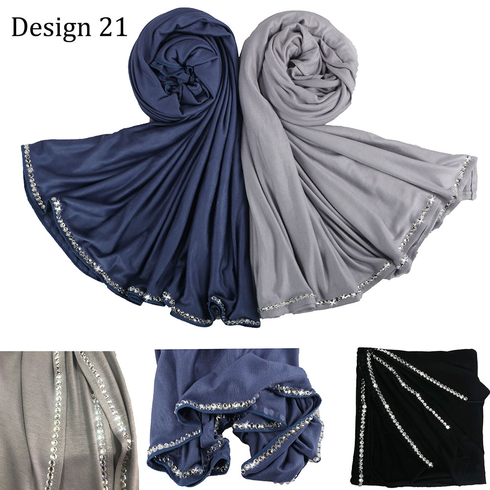 SMG D21 Custom Fabric Stretch Jersey Hijab Scarf With Stone Women For Netherlands Muslim Scarves Tissues Jersey Shawls