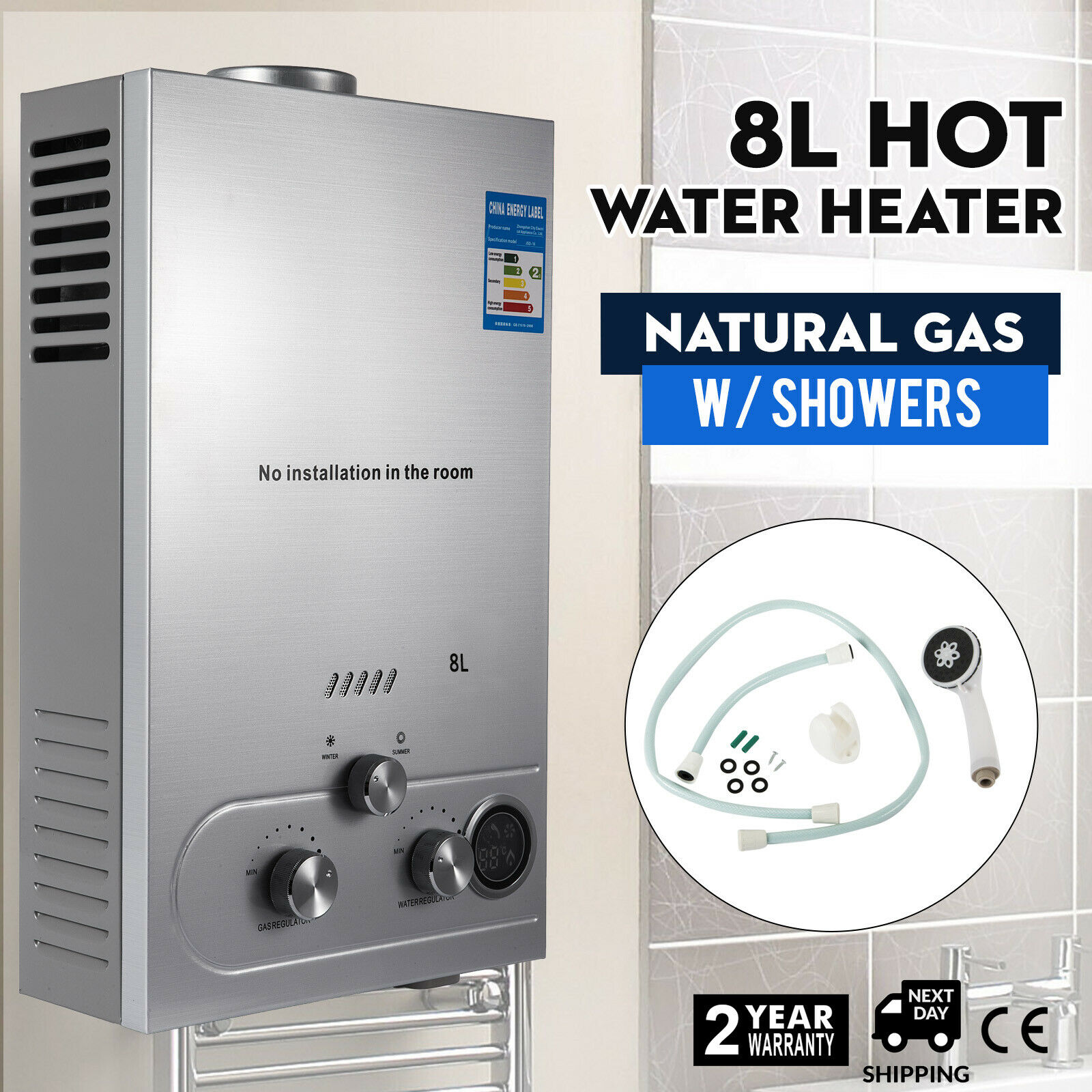 Hot Water Heater Natural Gas LNG 8L On-Demand Tankless Water Heater Digital