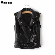 Unua amo Tassel Sleeveless Jacket Women Short Fashion Black Leather Waistcoat 2020 Faux Leather Motorcycle Biker Vests For Women(China)