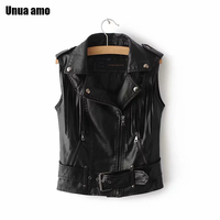 Unua amo Tassel Sleeveless Jacket Women Short Fashion Black Leather Waistcoat 2020 Faux Leather Motorcycle Biker Vests For Women