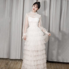Celebrity Style Immortal Banquet Debutante Dress Annual General Meeting Host Long Dress White Cake Dress 8643(China)