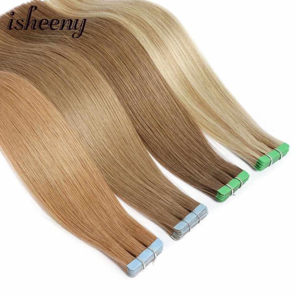 "Isheeny 14"" Tape In Hair Extensions 100% Human Hair Straight Invisible Double Side Tape Blonde Hair 1.5g Remy European Tape In"
