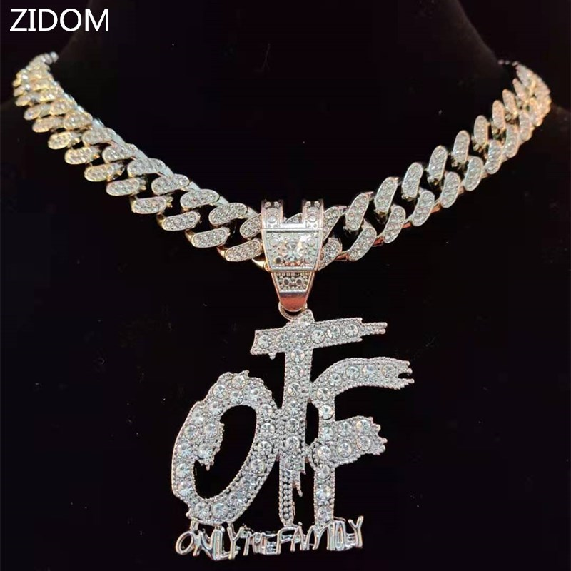 Men Women Hip Hop ONLY THE FAMILY Letters Pendant Necklace with 13mm Miami Cuban Chain Iced Out Bling HipHop Necklaces Jewelry