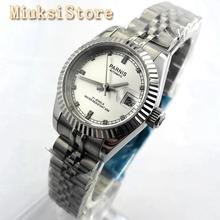 Parnis 26mm Womens Top Luxury Mechanical Watch Silver Sapphire Glass 21 Jewels M