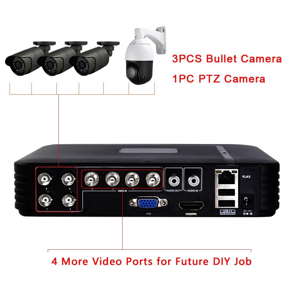 CCTV Outdoor 8CH Hybrid DVR AHD 4CH Sicherheit Kamera System 1080P 30X ZOOM PTZ Kamera Pan Tilt Home Überwachung DIY KIT