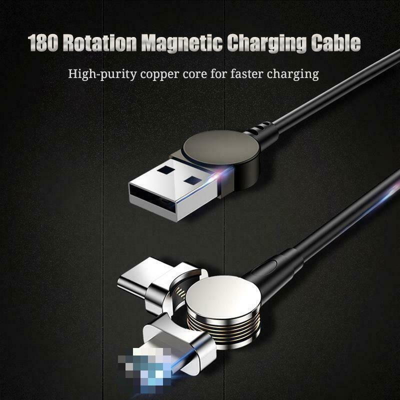 1M 2.4A <font><b>USB</b></font> Magnetic <font><b>Cable</b></font> 180 Free Rotation Fast Charging & Data Transfer <font><b>Cable</b></font> For IPhone Charger Type C Micro <font><b>USB</b></font> Charge image