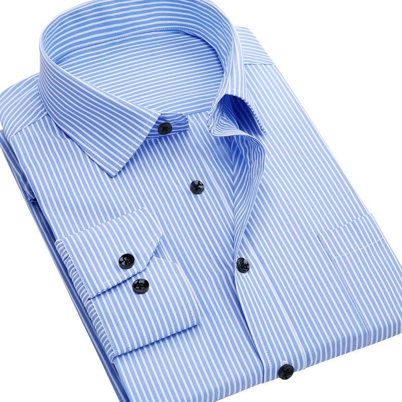 Men's Long Sleeve Shirt Slim Fit Casual Iron Striped Shirt Men's Wear