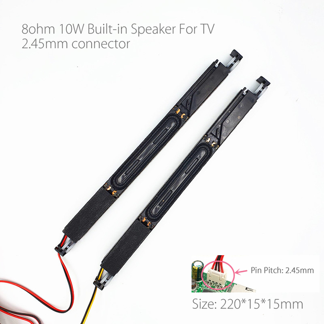 8 Ohm 10W built in LCD TV Panel Speaker Amplifier audio SoundBox frequency Output ultrathin Black 2.45mm connector for TV 1 pair