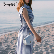 Simplee Patchwork striped women shirt dress Summer casual beach wear female dress Elegant button bohemian ladies long dress 2020
