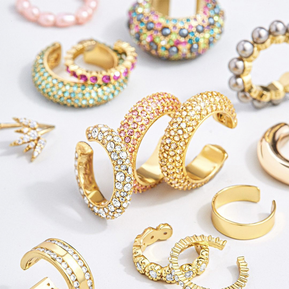 2020 New Arrival Multicolor CZ Crystal Ear Cuff Stackable C Shaped Ear Clips No Pierced Cartilage Earring for Women Earcuffs(China)