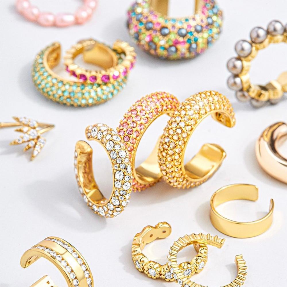 2020 New Arrival Multicolor CZ Crystal Ear Cuff Stackable C Shaped Ear Clips No Pierced Cartilage Earring For Women Earcuffs