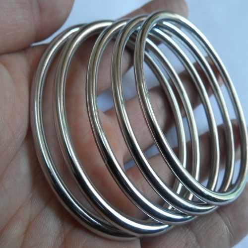 5 шт./лот, распродажа, нержавеющая сталь, серебро, модный твердый Круглый Проволочный Браслет-манжета, браслет для женщин и мужчин, ювелирные изделия, 4 мм, ширина 2,67 дюйма