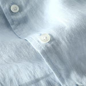Image 4 - 男性春と秋のファッションブランド日本スタイル無地ブルーリネン長袖シャツ男性カジュアル薄型ポケットシャツ