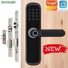 RAYKUBE قفل ببصمة الأصبع واي فاي تويا Smartlife APP IC بطاقة رمز رقمي قفل الباب الالكتروني أمن الوطن نقر قفل X3