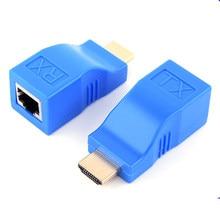 1pc adaptador para-extensão extensor compatível lan rj45 cat5 cat6 cabo de rede para 1080p adaptador para pc tablet txtb1
