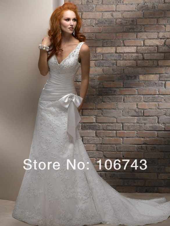 Free Shipping 2018 New Style Sexy Brides Custom Size Lace V-neck Bow Lace Appliques Bridal Gown Mother Of The Bride Dresses