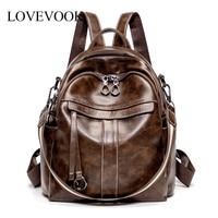 Lovevook women backpack school backpacks for teenage girls vintage PU leather antitheft backpack female shoulder bags for ladies
