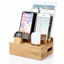 3 в 1 зарядные станции станция Подставка для Apple Watch, версии 4/3/2/1 натурального бамбука Зарядное устройство держатель телефона для Iphone для Airpod