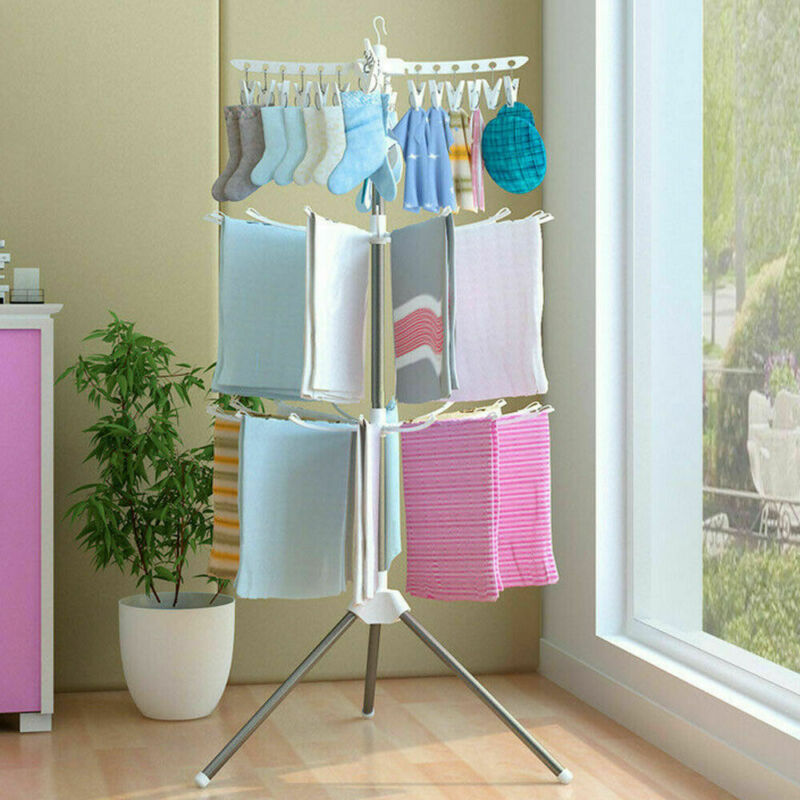 Foldable Clothes Hanger Clothes Drying Rack Multifunction Plastic Scarf Clothes Hangers Hangers Storage Racks 3 Tiers