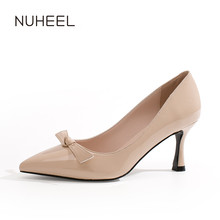 NUHEEL women's shoes net red high heels new spring ladies patent leather pointed bow shoes women туфли на каблуке