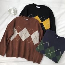 Knitted Sweater Women Oversize Sweaters Argyle Korean Pullovers Ladies Winter Loose Sweaters Female Casual Jumper Ropa De Mujer