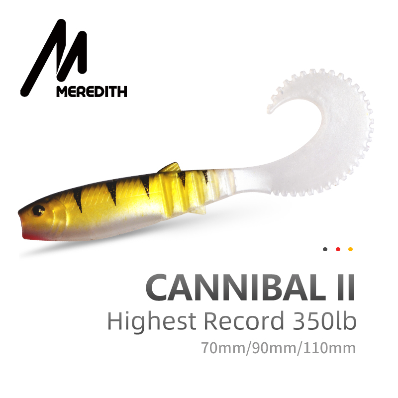 MEREDITH 70mm 90mm 110mm Cannibal Curved Tail Fishing Lures Artificial Wobblers Soft Baits Silicone Shad Worm Bass Leurre Souple