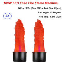 2Pcs/Lot Stage Effect LED Lamp Silk 1.5 2.2 Meter Red and Blue Fake Simulative Fire Flame Lighting Artificial Flame Blow Machine