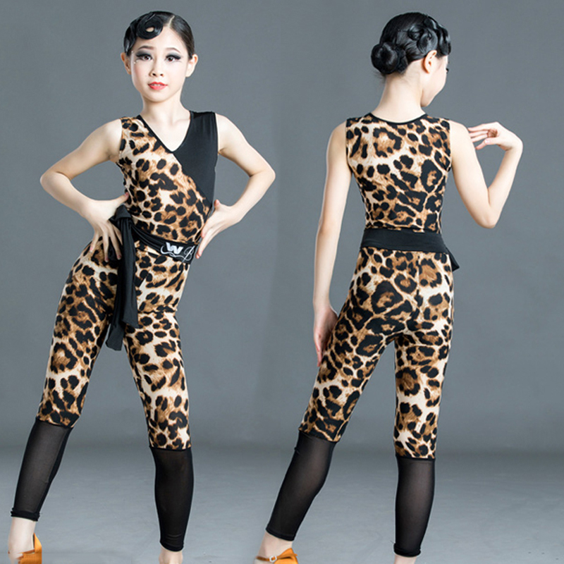 2020 New Latin Dance Girls Dress Sleeveless Leopard Suit Mesh Pants Children Cha Cha Samba Stage Performance Dance Clothes 3718