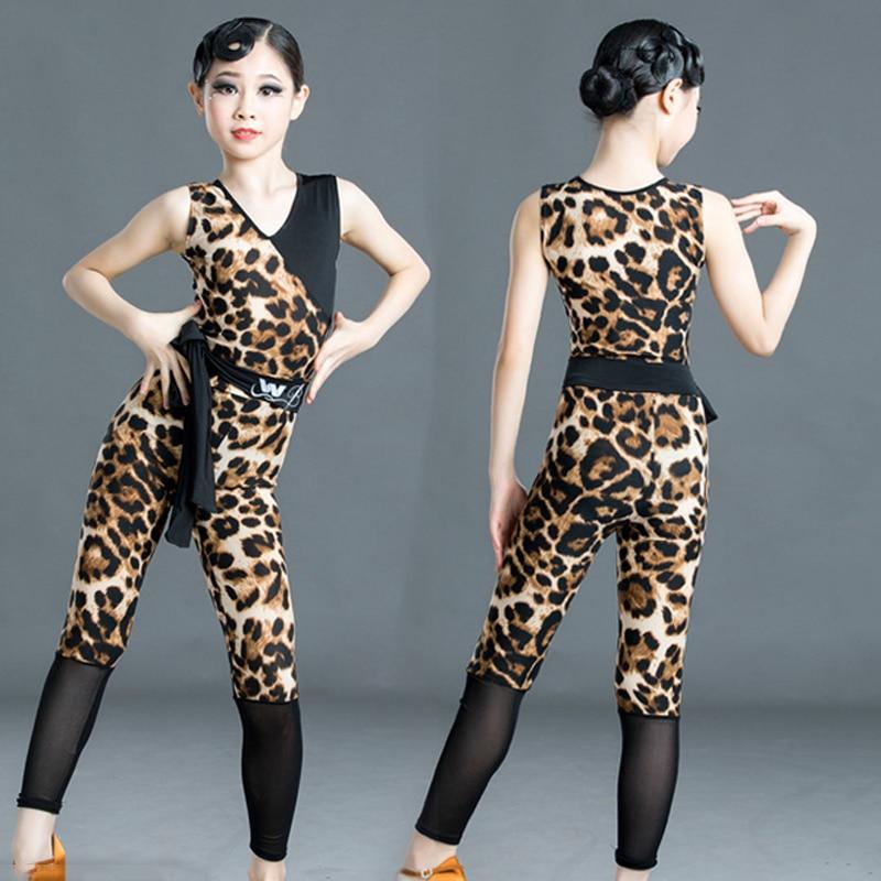 2020 New Latin Dance Girls Dress Sleeveless Leopard Suit Mesh Pants Children Cha Cha Samba Stage Performance Dance Clothes 3718