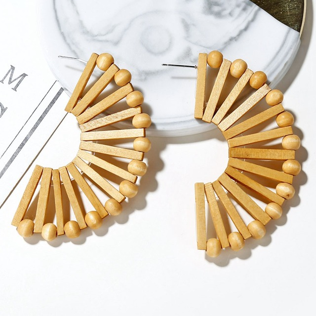 Vintage Ethnic New Fan shaped Wood Drop Earrings Handmade Geometric Hollow Out Party Statement For Women.jpg 640x640 - Vintage Ethnic New Fan-shaped Wood Drop Earrings Handmade Geometric Hollow Out Party Statement For Women Bar Jewelry