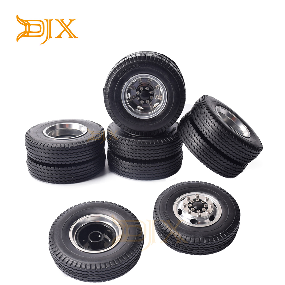 DJX Front&Rear Rubber Low Loader Wheels With Aluminum Rims For Tamiya 1/14 RC Tractor Trailer Truck Tyres Replacement