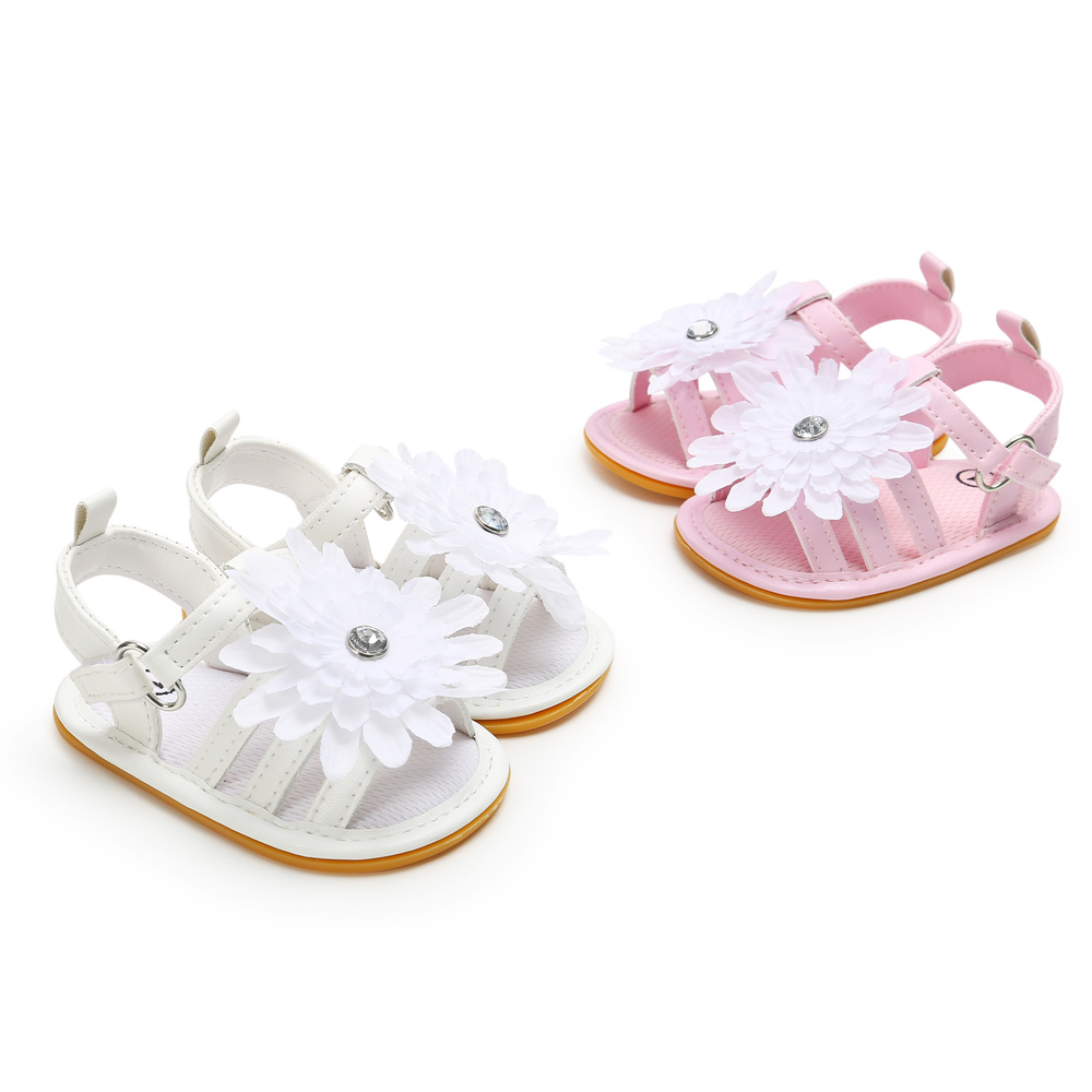 Toddler Baby Girl Sandals Rubber Anti-Slip Sole Princess PU Leather White Lace Flower Summer Newborn Sandals Outdoor Park