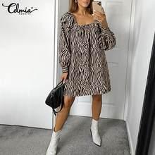 Mini Dress Spring Celmia Long-Puff Party Zebra Sexy Off-Shoulder Fashion Casual 5XL Vestidos