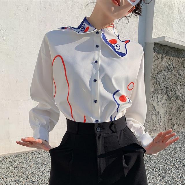 Graffiti Shirt Women Korean Fashion Turn Down Collar Long Sleeve Painted White Shirt Blouse Lady 2021 Spring Casual Loose Tops 5