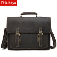 DICIHAYA Men's Bag Crazy Horse Genuine Leather Men's Bag Retro Female Cowhide Shoulder Messenger Bag Handbag Briefcase Men