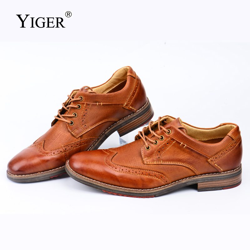 YIGER New Men's Dress Shoes Bullock Genuine Leather Shoes Man Big Size Handmade Formal Shoes Male Business Oxford Shoes 439