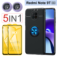 Anti Choc Case Note 9T Ring Holder Case for Xiaomi Redmi Note 9T 5G / Redmi Note 9 4G, Rubber Phone Cover, Glass + Case Redmi Note 9T Pro 9S 9Pro 9A 9C