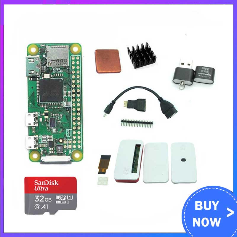 Raspberry Pi Zero W Starter Kit  ABS Case + Heat Sink + GPIO Header + Mini HDMI + 32GB SD Card For Raspberry Pi Zero/Zero W