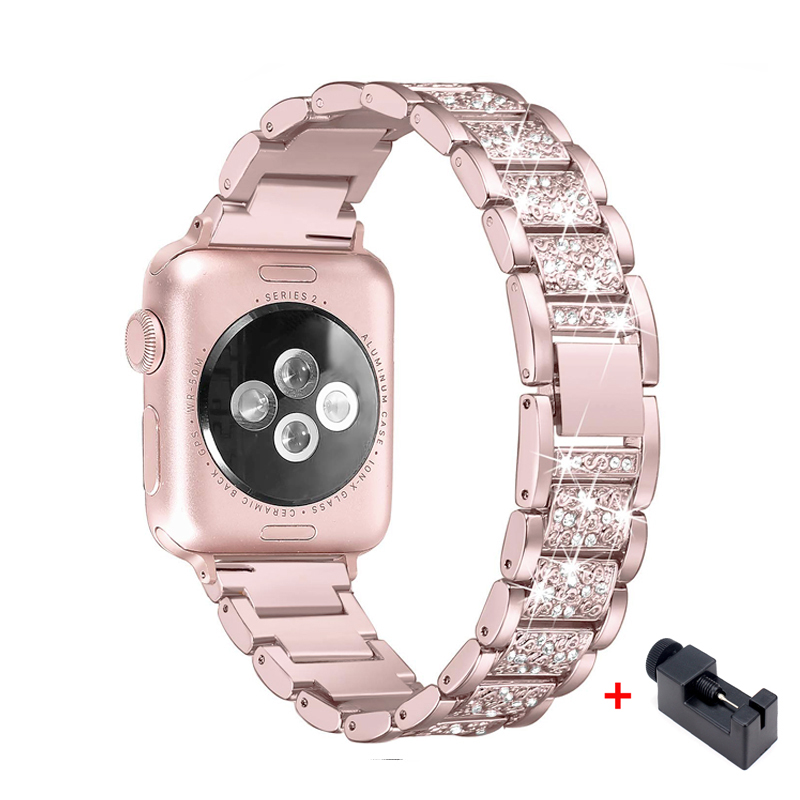 stainless steel strap For Apple Watch band 5 4 40mm 44mm women Diamond Band bracelet Iwatch 4 3 2 1 38mm 42mm iWatch Accessories