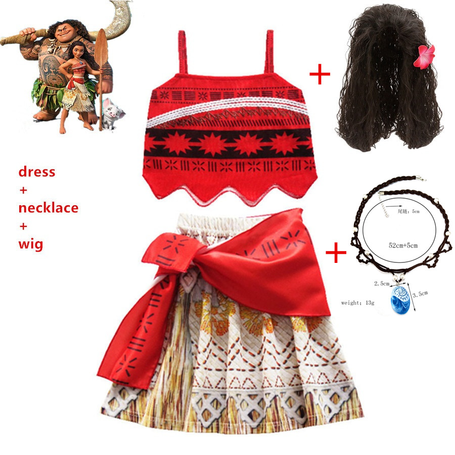 2020 Princess Moana Cosplay Costume For Children Vaiana Dress Costume +Necklace+wig For Halloween Costumes For Kids Girls Gifts