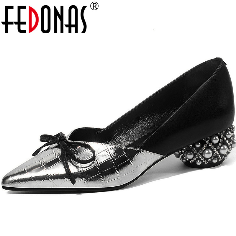 FEDONAS Top Quality Women Glitters Butterfly Knot Party Pumps Party Summer Spring Strange Pearl Heeled Slip On Shoes Woman