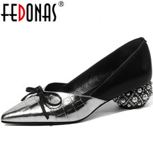 Party Pumps Heeled On-Shoes Strange Pearl FEDONAS Women Summer Knot Spring Slip Glitters