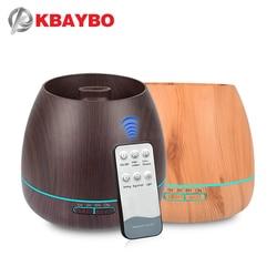 KBAYBO 550ml zapachowy olejek eteryczny dyfuzor ultradźwiękowy nawilżacz powietrza z drewna ziarna elektryczne LED światła rozpylacz zapachów dla domu