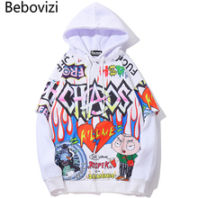 Bebovizi Hiphop Hoodie Men Graffiti Cartoon Printed Mens Anime Pullover Fashion High Street Tops 2019 Hip Hop Streetwear