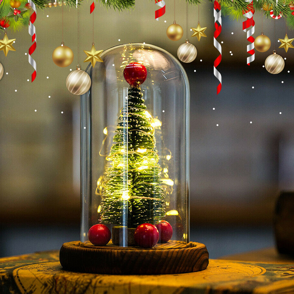 Mini Christmas Tree In Glass With LED Lights Ornaments Decoration For Home Party JA55