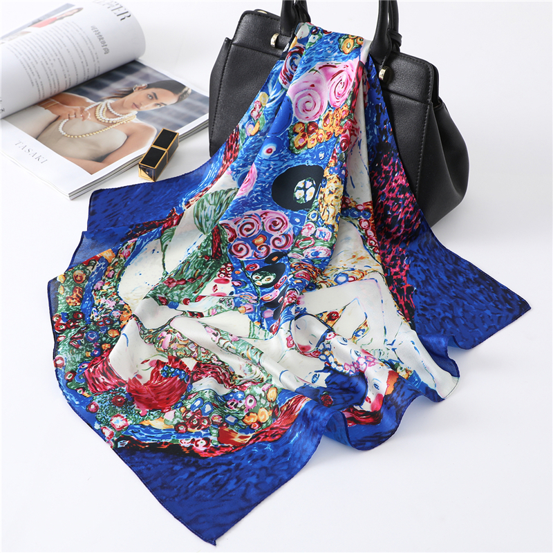 Square Silk Scarf Female Bandana Shawl Silk Neck Scarves Small Scarves For Women Neckerchief Hand Kerchief Hair Scarf
